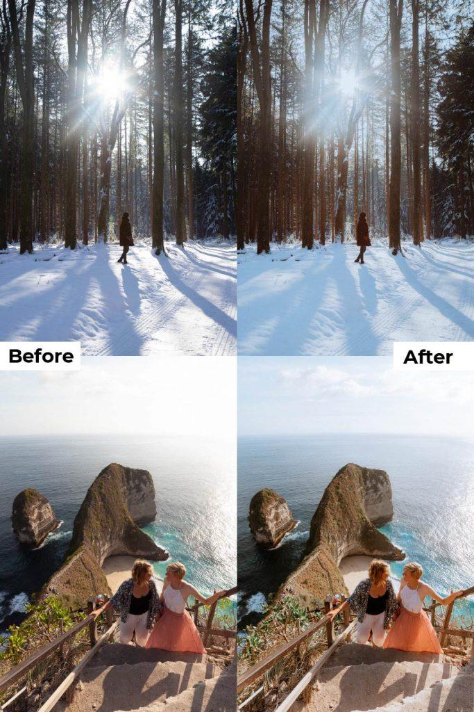 Before after light and airy presets lightroom desktop