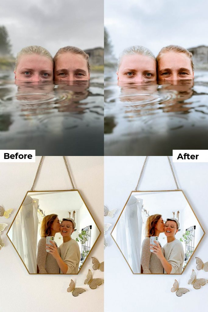 Before after light and airy presets lightroom mobile