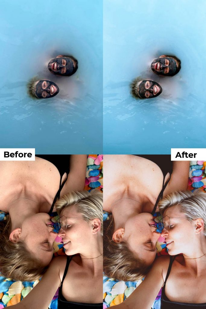 Before after light and airy presets mobile