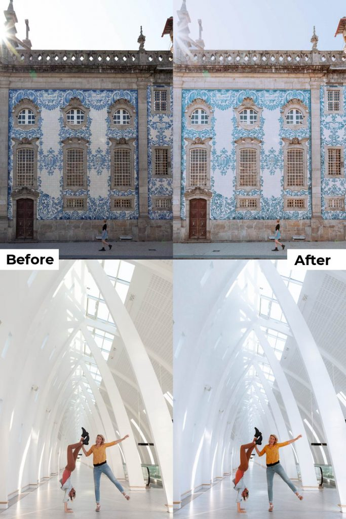 Before after light and airy presets white presets desktop