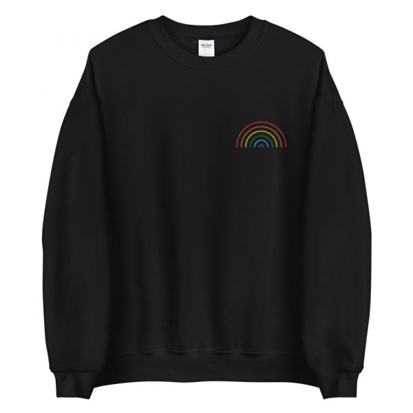embroidered rainbow sweatshirt unisex black front
